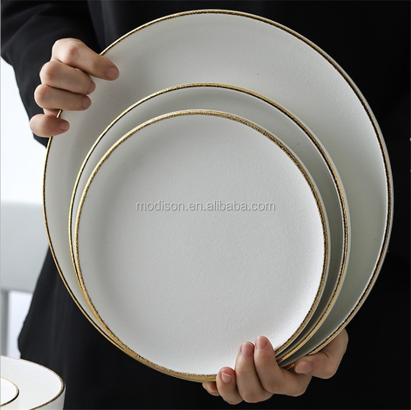 White Color Glazed Tableware Plates Gold Rimmed China Ceramic Dinnerware Sets