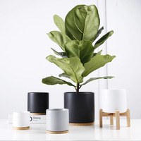 High quality matt glazed ceramic cylinder succulent planter flower pots with wood plant stand