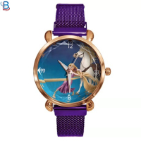 Magnet stainless steel mesh belt watch kids cartoon princess fashion leisure female students lazy wrist watch
