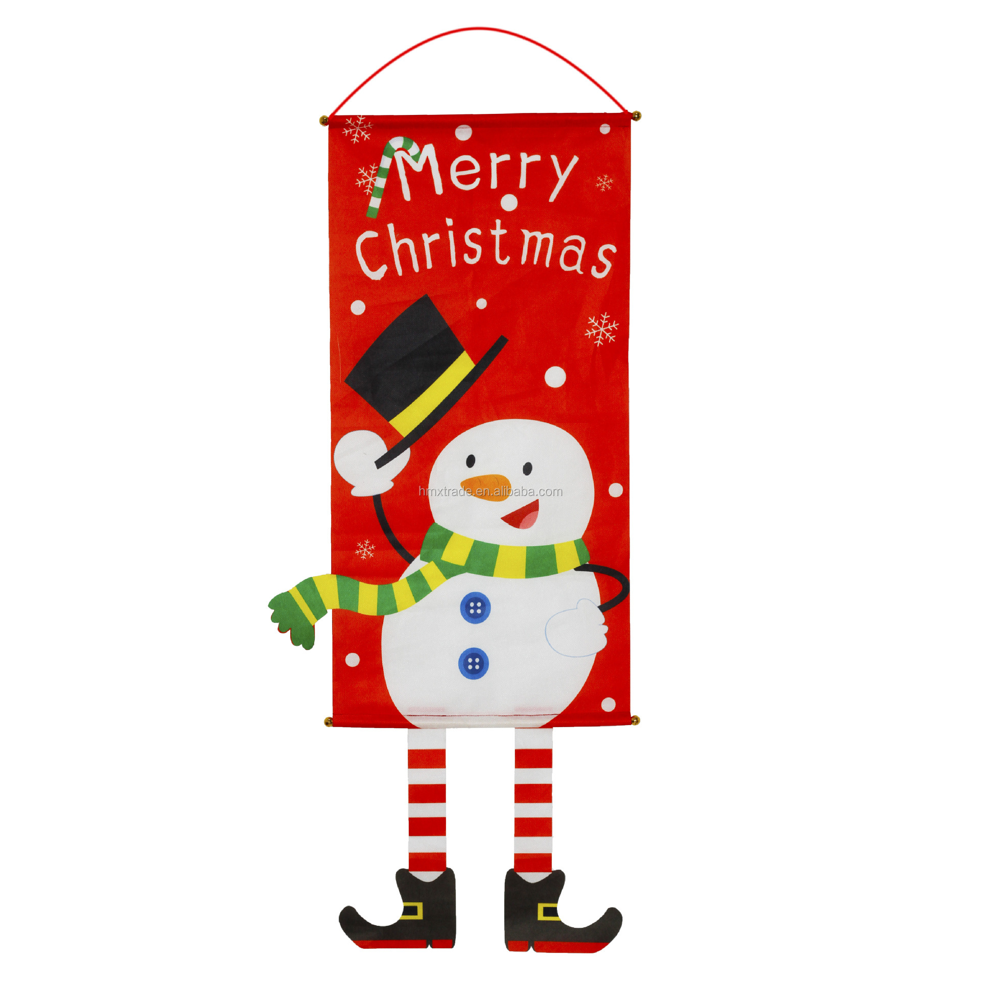 Merry Christmas Banner Outdoor Indoor Decorations Welcome Christmas Porch Sign Red Xmas Decor Hanging Banner for Home Wall Door