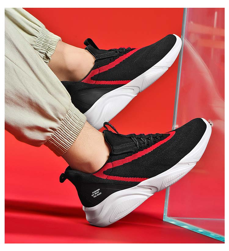 Big Size Antiskid Sole Breathable Fly Knit Lace Up Casual Sports Men Sneaker Shoes