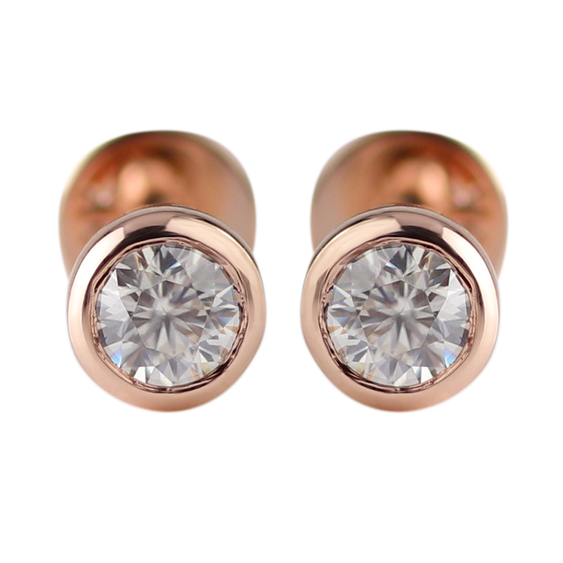 Stylish 10 K Rose Gold STUD ต่างหู 3 มม.ตัด Moissanite Diamond
