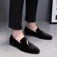 37-48 Big Size Tassel Loafers Smoking Slippers Black Blue Suede Wedding Dress Shoe