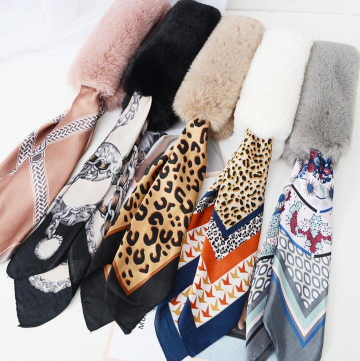 Queena Scarf Women Autumn Winter All-match Korean Leopard <strong>Faux</strong> Fur Collar Scarf Ribbon Female Neck Warm Plush Fluffy <strong>Wrap</strong>