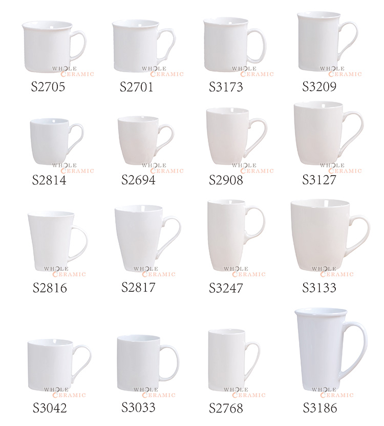 Wt23 14Oz 15Oz 16Oz Large White Custom Ceramic Coffee Mugs Big Tall Porcelain Coffee Cup Decal Printed Manufacturer
