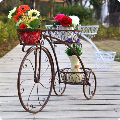 ที่วางกระถางดอกไม้บนพื้นในร่ม,ที่วางกระถางเหล็กสุดสร้างสรรค์สำหรับจักรยานสีดำแบบโบราณ