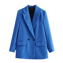 Женский двубортный Блейзер KPYTOMOA, винтажный пиджак с длинным рукавом и карманами, верхняя одежда для офиса, 2020(Китай)