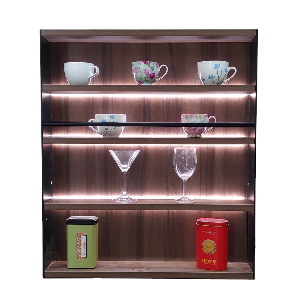 Aluminum wood shelf store display racks with LED light