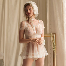 Сексуальное прозрачное Сетчатое нижнее белье в японском стиле «Лолита», розовая ночная рубашка с трусиками, сексуальное нижнее белье для ж...(Китай)