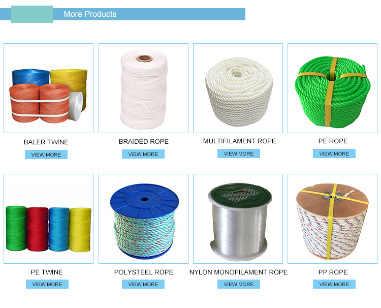 3 strand or 4 strand PP Danline Twisted Packaging Rope for fishing net marine