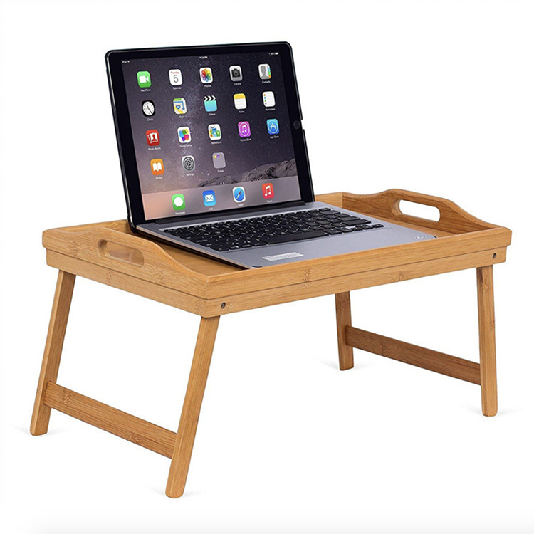 Bambu Bed Tray Meja dengan Kaki Lipat Sarapan Tray