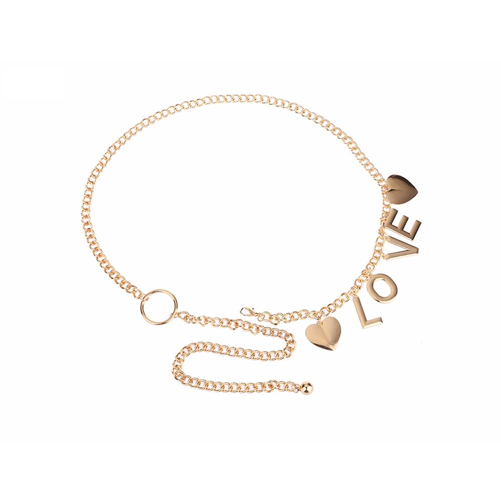 Fashion girls silver waist chain belt cintura with Love logo