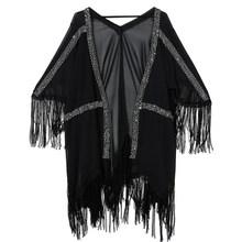 Женское платье с треугольным вырезом EAM, черное шифоновое платье большого размера с рукавом три четверти и кисточками, весна-лето 2020(Китай)