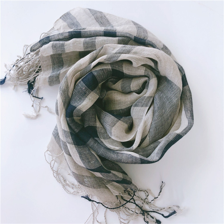 Wholesale 100% linen business casual plaid shawls for men and women