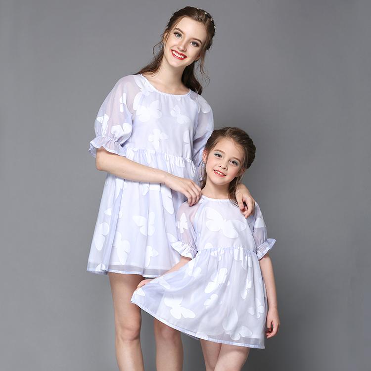 Aile eşleştirme giyim kızı kıyafetler eşleştirme rahat elbise aile elbiseleri özelleştirilmiş aile takım elbise