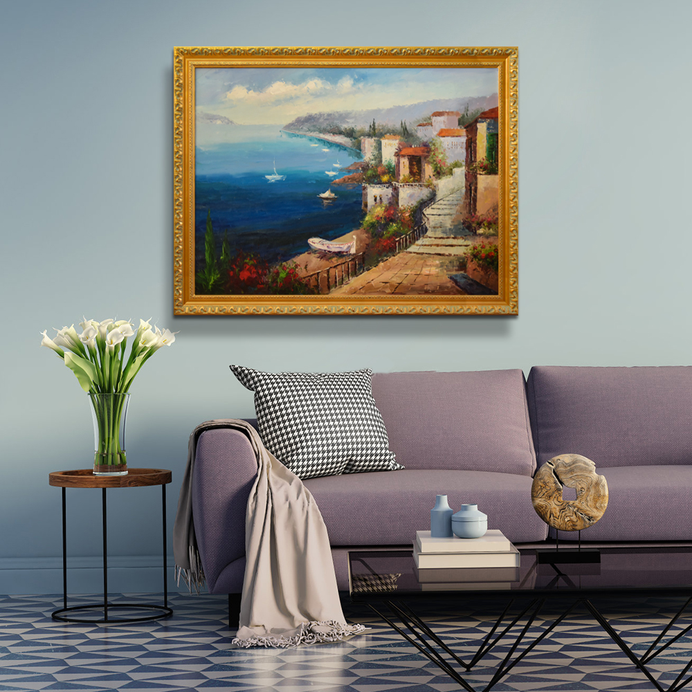 Handmade Canvas Tuscany Sea View Garden Landscape Italy Town Scenery Art Oil painting