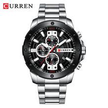 CURREN Часы мужские из нержавеющей стали Кварцевые наручные часы Военные хронограф мужские модные спортивные часы водонепроницаемые 8336(Китай)