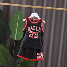 2020 летняя детская Баскетбольная одежда для мальчиков и девочек футболка майка + шорты брюки детские спортивные костюмы 1, 2, 3, 4, 5, 6 лет(Китай)