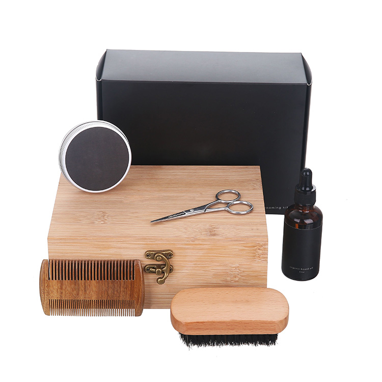 Customized scent  beard kit brush and moustache comb set grooming kit for men 5 in 1