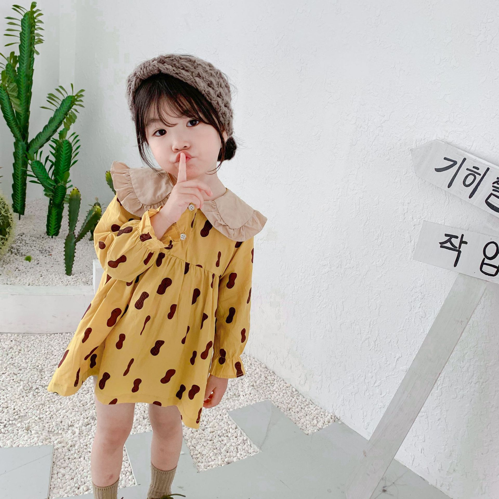 2019 Korean Hot Style Cute Peanut Print Baby Girls Fancy Long Sleeve Peter Pan Collar Dress