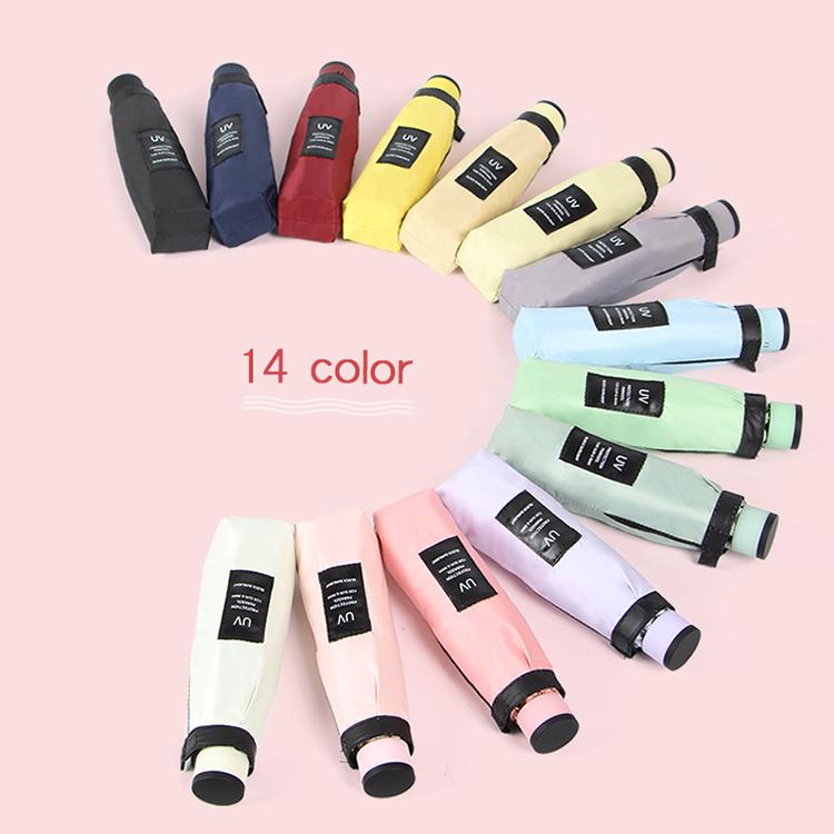 พิมพ์โลโก้ Rainy Day Super Mini แบบพกพา Sun UV Protection พ็อกเก็ตขนาดกะทัดรัด 5 พับร่ม