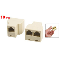 Practical 3 Way RJ45 LAN Network Ethernet Splitter Connector Beige