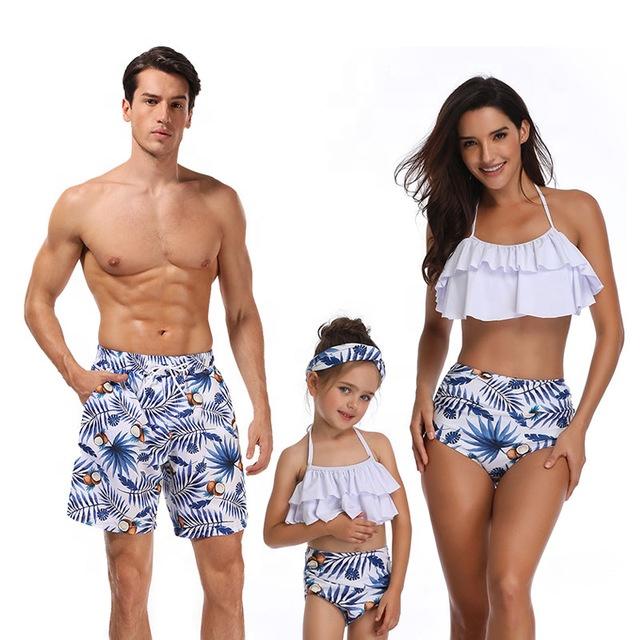 ชุดว่ายน้ำสำหรับครอบครัว,ชุดว่ายน้ำแม่ลูกของลูกสาวชุดว่ายน้ำบิกินี่เอวสูงชุดว่ายน้ำแบบเข้าชุดสำหรับครอบครัว