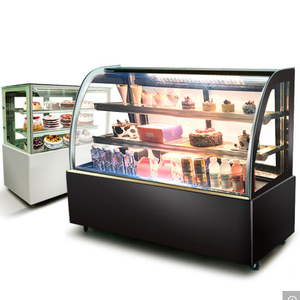 Cooling Cake Showcase Arc Shape Glass Display Cake Refrigerator Cabinet