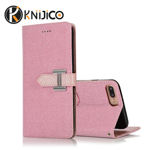Free Sample Flash powder cloth wallet card holder cell phone case ,TPU+PC Flip Cover Phone Wallet Case for iphone 6 7 8