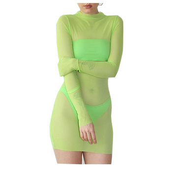 2019 Hot Sale Dress Sexy Night Club Clothes Hot Sell Long Sleeve See Through Mini Dresses Women Swimwear High Quality Factory