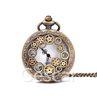 New arrival Steampunk Model Mechanical Skeleton Pocket Watch with Chain As Gift hollow out pocket watch