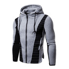 OEM wholesale cotton polyester full zip up Drawstring Hoodie for men
