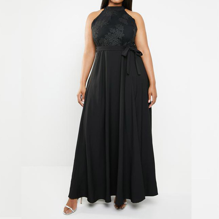 Yihao custom embroidery evening dress black plus size dress sexy dress