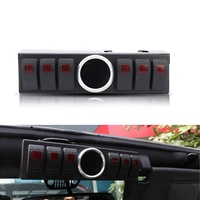 Control Box System 6 Rocker Switches Panel with Wiring Harness&Voltage meter for Jeep Wrangler JK