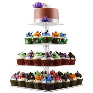 Elegant design 4 tier acrylic cake display stand perspex cake holder