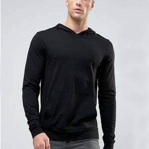 Stretch jersey with pouch pocket plain black hoodie tight fit to the body