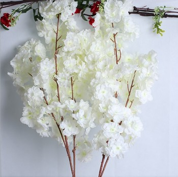 3 branches dense artificial flower white cherry blossom silk flowers without leaf for sale