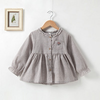 Kids 2019 Spring Autumn Wholesale Children's Pretty Cotton Woven Long Sleeve Shirt Dress For 1-6Y Girls