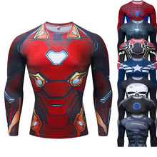 Marvel Fitness T-shirt Quick-drying Long Sleeve Spider-Man Sports Shirts Men