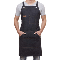 Denim Apron for Chef Kitchen BBQ Grill Black Towel Loop + Quick Release Buckle + Tool Pockets