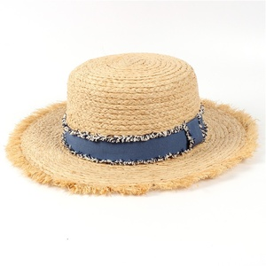 Cheap Price Custom Women Hollow Tassel Flat Beach Sun Bucket Straw Hat Cap For Fashion Elegant Lady