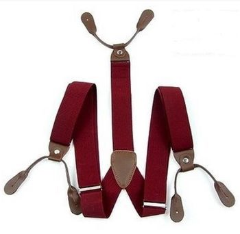 NEW ADJUSTABLE DARK RED MENS BRACES SUSPENDERS WIDE THICK 3.5 CM 6 BUTTON CITY AG131