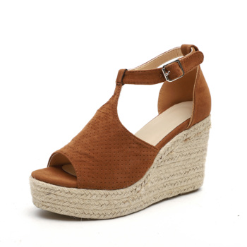 Comfortable Peep Toe Design Height Increasing Ladies Suede Wedge Shoes Women Ladies Casual Sandals Shoes