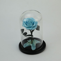 2019 Beauty and the Beast Decorative Flower Rose Eternal Preserved Rose Flower In Glass Dome