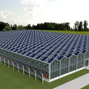 Agricultural hydroponic glass greenhouse with cooling and shading system