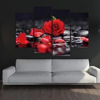 Frame wall art flower acrylic painting picture red rose flower painting canvas painting