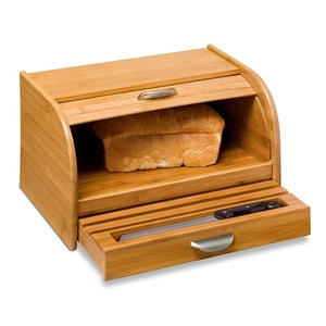 2017 New Style Retro Kitchen Ware Bread Box loaf bread box Bamboo Bread Bin