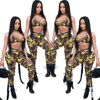 582c1225dfe B30024A 2019 African printed Club sexy fashion 2 piece camo summer pants set
