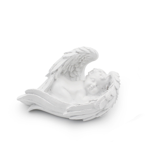 Wholesale resin lovely kid angel wings figurine cute baby sleep cherub statue