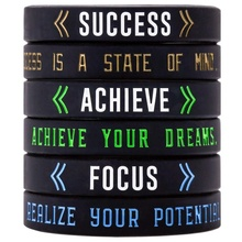 Success, Achieve, Focus - Motivational Silicone Bracelets - Inspirational Rubber Wristbands with Messages Custom logo